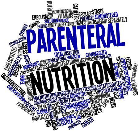 Abstract word cloud for Parenteral nutrition with related tags and terms Stock Photo