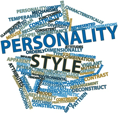 constructive: Abstract word cloud for Personality style with related tags and terms Stock Photo