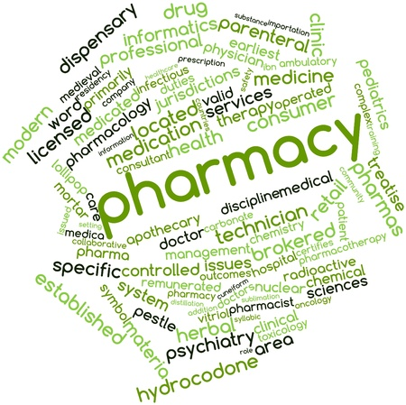 materia: Abstract word cloud for Pharmacy with related tags and terms