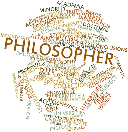 proceed: Abstract word cloud for Philosopher with related tags and terms Stock Photo
