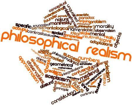 regimes: Abstract word cloud for Philosophical realism with related tags and terms Stock Photo