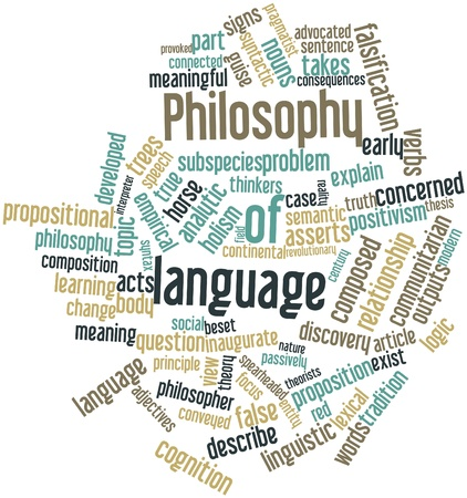 verbs: Abstract word cloud for Philosophy of language with related tags and terms