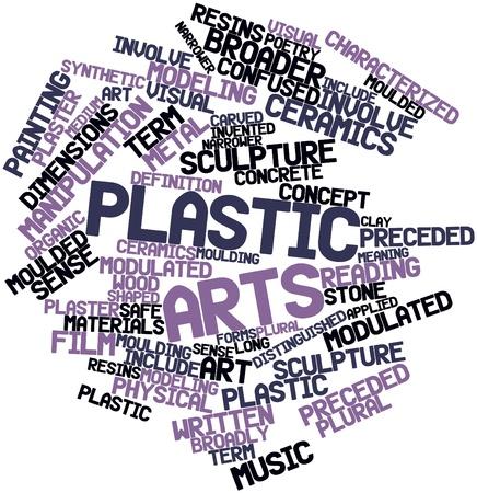 Nube de la palabra abstracta de las artes plásticas con etiquetas y términos relacionados