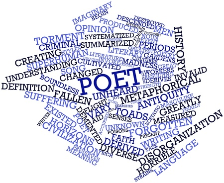 demented: Abstract word cloud for Poet with related tags and terms
