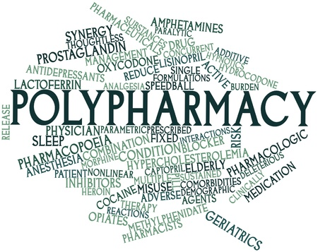implicated: Abstract word cloud for Polypharmacy with related tags and terms Stock Photo