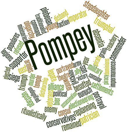 resettlement: Abstract word cloud for Pompey with related tags and terms Stock Photo