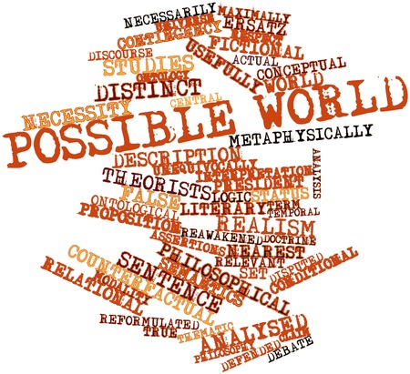 explicit: Abstract word cloud for Possible world with related tags and terms Stock Photo