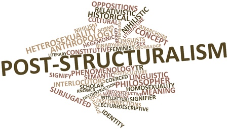 Abstract word cloud for Post-structuralism with related tags and terms Stock Photo