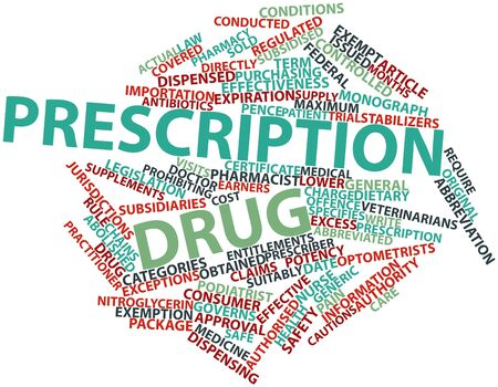 dispensing: Abstract word cloud for Prescription drug with related tags and terms Stock Photo