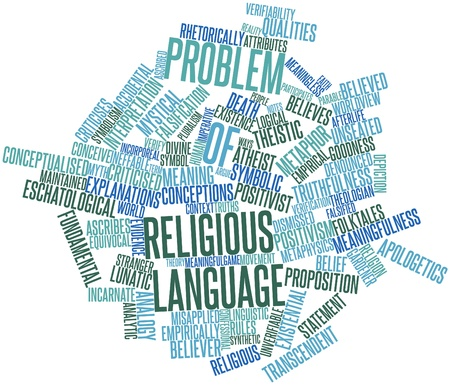 ascribed: Abstract word cloud for Problem of religious language with related tags and terms Stock Photo