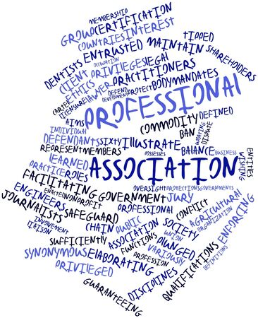 synoniem: Abstracte woord wolk voor Beroepsvereniging met bijbehorende labels en termen
