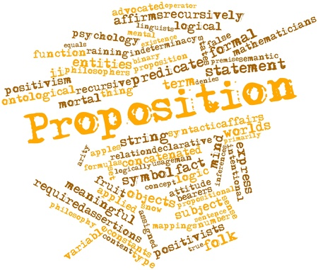 Abstract word cloud for Proposition with related tags and terms Stock Photo