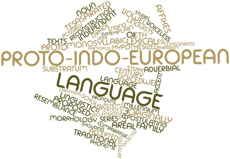 Abstract word cloud for Proto-Indo-European language with related tags and terms Stock Photo - 17196791