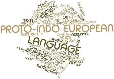 Abstraktes Wort-Wolke für Proto-Indo-europäischen Sprache mit verwandten Tags und Begriffe