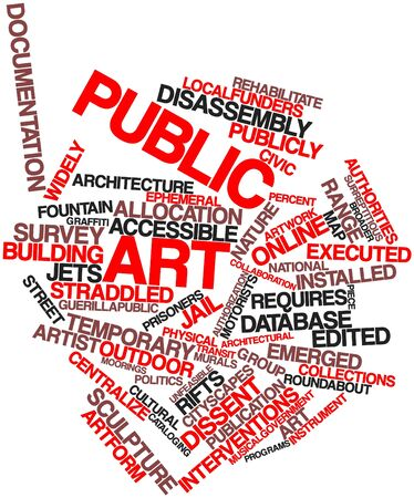 specificity: Abstract word cloud for Public art with related tags and terms