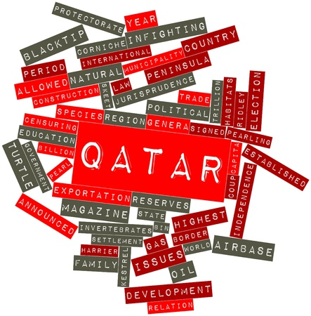 biographer: Abstract word cloud for Qatar with related tags and terms Stock Photo