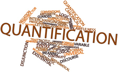 indeterminate: Abstract word cloud for Quantification with related tags and terms