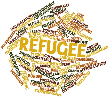 Abstract word cloud for Refugee with related tags and terms Stock Photo