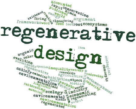 regenerative: Abstract word cloud for Regenerative design with related tags and terms
