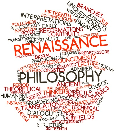 Abstract word cloud for Renaissance philosophy with related tags and terms