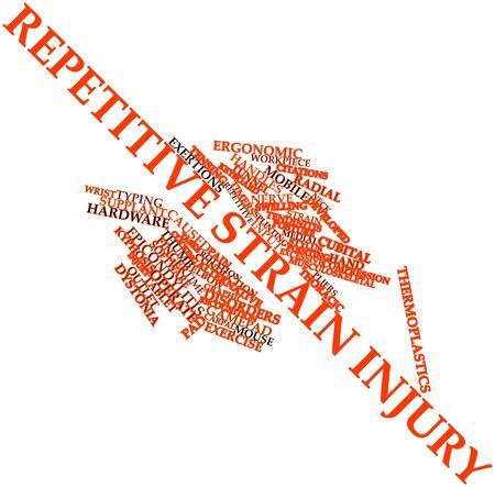 r�p�titif: Nuage de mot abstrait pour microtraumatismes r�p�t�s avec des �tiquettes et des termes connexes Banque d'images