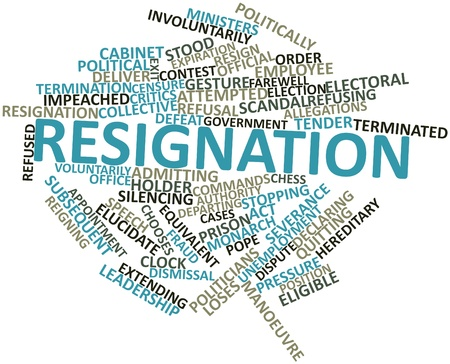 Abstract word cloud for Resignation with related tags and terms Stock Photo - 17197283
