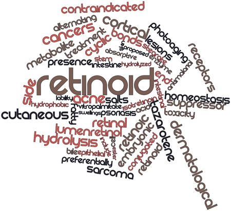 in vitro: Nube palabra abstracta para Retinoid con etiquetas y términos relacionados Foto de archivo