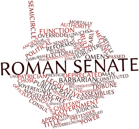 orators: Abstract word cloud for Roman Senate with related tags and terms Stock Photo