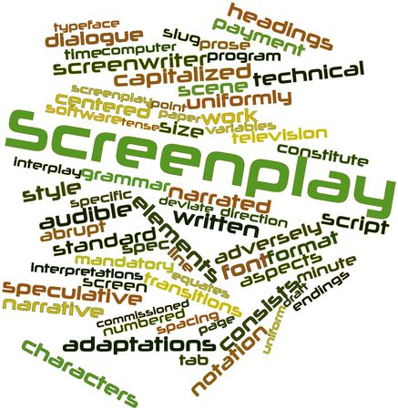 screenplay: Abstract word cloud for Screenplay with related tags and terms