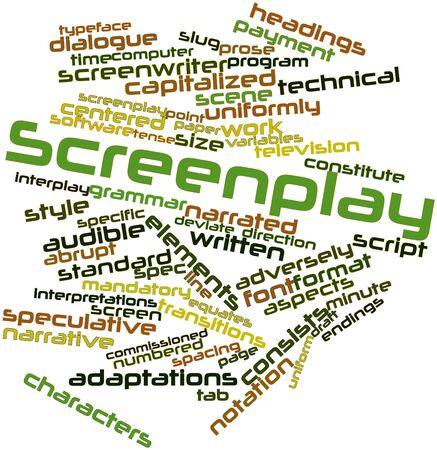 screenwriter: Word cloud astratto per sceneggiatura con tag correlati e termini