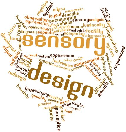 sensory perception: Abstract word cloud for Sensory design with related tags and terms Stock Photo