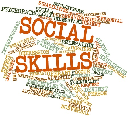 rationale: Abstract word cloud for Social skills with related tags and terms