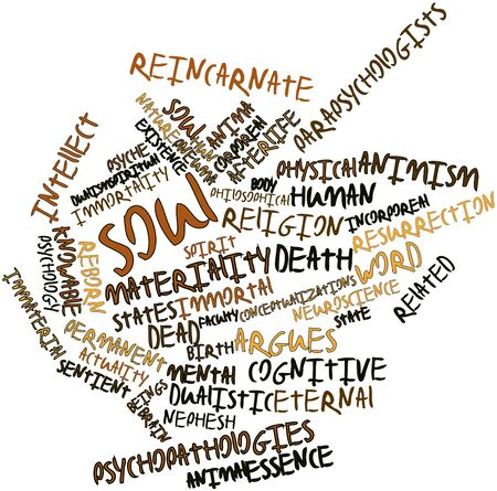 dualistic: Abstract word cloud for Soul with related tags and terms Stock Photo