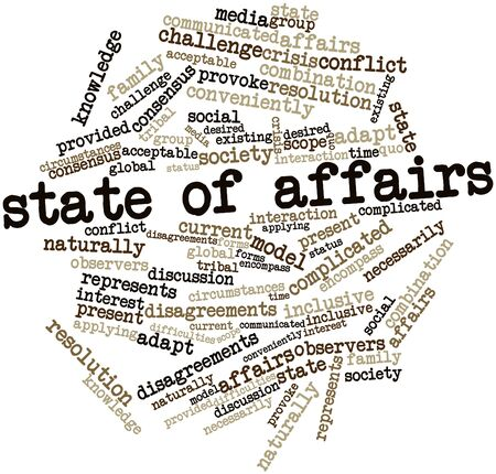 observers: Abstract word cloud for State of affairs with related tags and terms Stock Photo