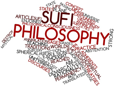 designate: Abstract word cloud for Sufi philosophy with related tags and terms Stock Photo