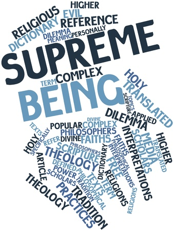 specifically: Abstract word cloud for Supreme Being with related tags and terms Stock Photo