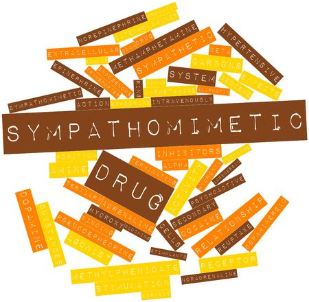 alpha cell: Abstract word cloud for Sympathomimetic drug with related tags and terms Stock Photo