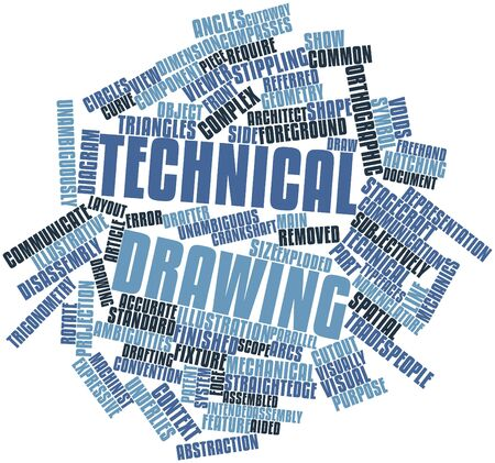 unambiguous: Abstract word cloud for Technical drawing with related tags and terms Stock Photo