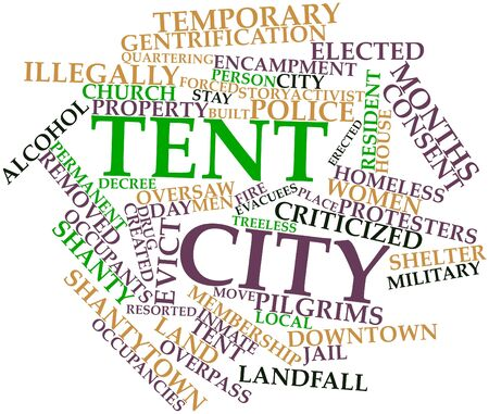 Abstract word cloud for Tent city with related tags and terms Stock Photo - 17197537