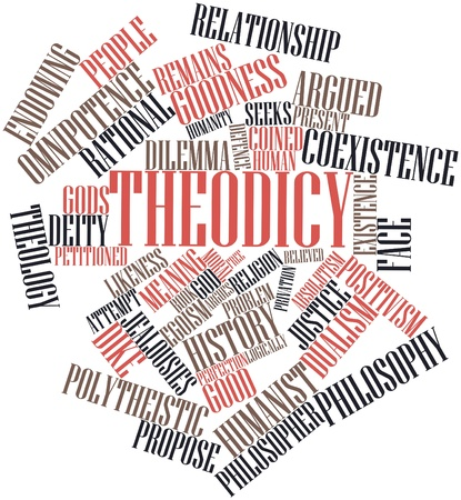 dike: Abstract word cloud for Theodicy with related tags and terms Stock Photo