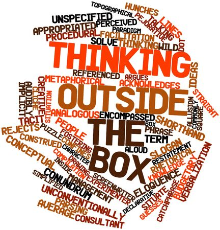 Abstract word cloud for Thinking outside the box with related tags and terms Stock Photo - 17198025