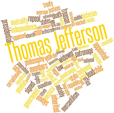 jefferson: Abstract word cloud for Thomas Jefferson with related tags and terms