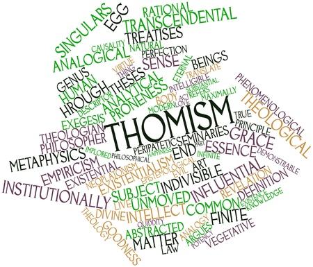 inteligible: Nube palabra abstracta para el tomismo con las etiquetas y términos relacionados Foto de archivo