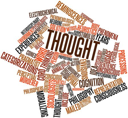 uncoordinated: Abstract word cloud for Thought with related tags and terms Stock Photo