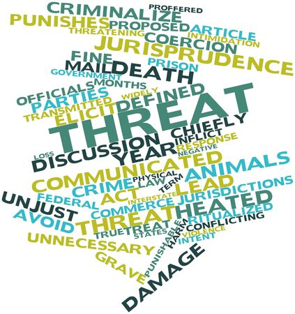punishable: Abstract word cloud for Threat with related tags and terms
