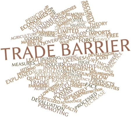 overproduction: Abstract word cloud for Trade barrier with related tags and terms Stock Photo