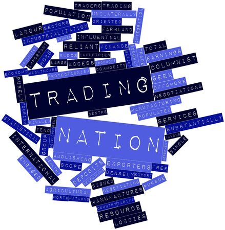 protectionism: Abstract word cloud for Trading nation with related tags and terms