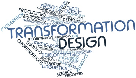 heuristics: Abstract word cloud for Transformation design with related tags and terms Stock Photo
