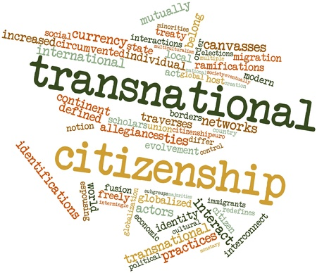 transnational: Abstract word cloud for Transnational citizenship with related tags and terms Stock Photo