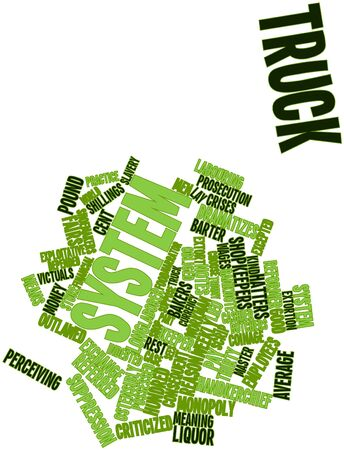 store keeper: Abstract word cloud for Truck system with related tags and terms